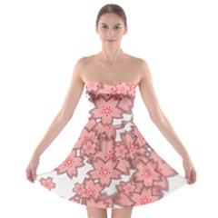Flower Floral Pink Strapless Bra Top Dress by Alisyart