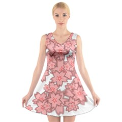 Flower Floral Pink V Neck Sleeveless Skater Dress by Alisyart