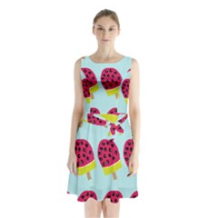 Watermelonn Red Yellow Blue Fruit Ice Sleeveless Chiffon Waist Tie Dress by Alisyart