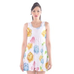 Rose Flower Floral Blue Yellow Gold Butterfly Animals Pink Scoop Neck Skater Dress by Alisyart