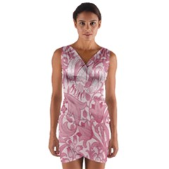 Vintage Style Floral Flower Pink Wrap Front Bodycon Dress by Alisyart
