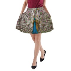 Indian Peacock Plumage A Line Pocket Skirt by Simbadda