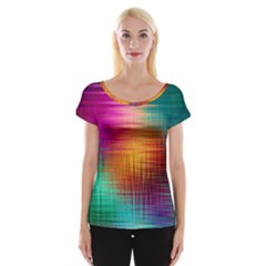 Colourful Weave Background Women s Cap Sleeve Top by Simbadda