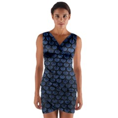 Scales3 Black Marble & Blue Stone (r) Wrap Front Bodycon Dress by trendistuff