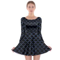 Scales1 Black Marble & Blue Stone Long Sleeve Skater Dress by trendistuff