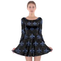 Royal1 Black Marble & Blue Stone (r) Long Sleeve Skater Dress by trendistuff