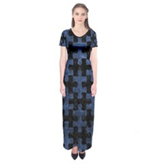 Puzzle1 Black Marble & Blue Stone Short Sleeve Maxi Dress by trendistuff