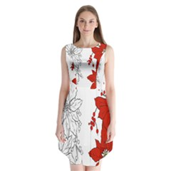 Poinsettia Flower Coloring Page Sleeveless Chiffon Dress   by Simbadda
