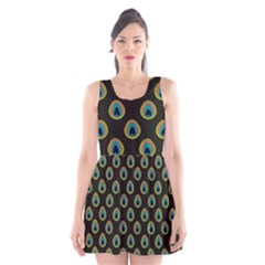 Peacock Inspired Background Scoop Neck Skater Dress by Simbadda