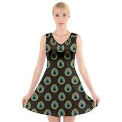 Peacock Inspired Background V Neck Sleeveless Skater Dress by Simbadda