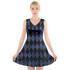 Diamond1 Black Marble & Blue Stone V Neck Sleeveless Dress by trendistuff