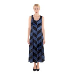 Chevron1 Black Marble & Blue Stone Sleeveless Maxi Dress by trendistuff