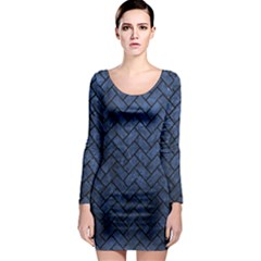 Brick2 Black Marble & Blue Stone (r) Long Sleeve Bodycon Dress by trendistuff