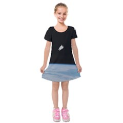 Amazing Stunning Astronaut Amazed Kids  Short Sleeve Velvet Dress by Simbadda