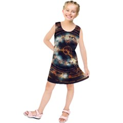 Science Fiction Energy Background Kids  Tunic Dress by Simbadda