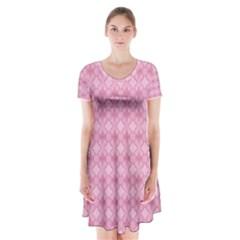 Pattern Pink Grid Pattern Short Sleeve V Neck Flare Dress by Onesevenart