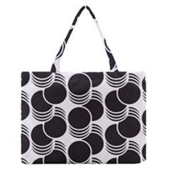 Floral Geometric Circle Black White Hole Medium Zipper Tote Bag