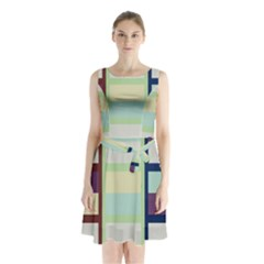 Maximum Color Rainbow Brown Blue Purple Grey Plaid Flag Sleeveless Chiffon Waist Tie Dress by Alisyart