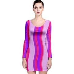 Pink Wave Purple Line Light Long Sleeve Velvet Bodycon Dress by Alisyart