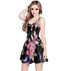 Neon Flowers Rose Sunflower Pink Purple Black Reversible Sleeveless Dress
