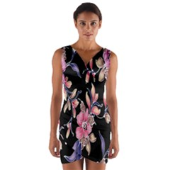 Neon Flowers Rose Sunflower Pink Purple Black Wrap Front Bodycon Dress by Alisyart