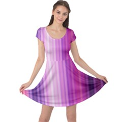 Pink Vertical Color Rainbow Purple Red Pink Line Cap Sleeve Dresses