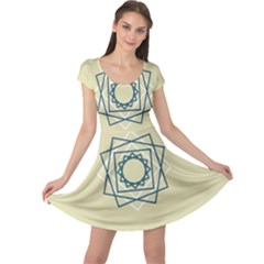Shape Experimen Geometric Star Plaid Sign Cap Sleeve Dresses