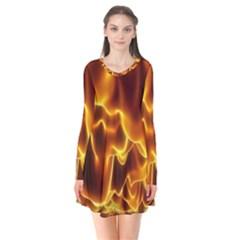 Sea Fire Orange Yellow Gold Wave Waves Flare Dress by Alisyart