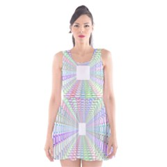 Tunnel With Bright Colors Rainbow Plaid Love Heart Triangle Scoop Neck Skater Dress by Alisyart