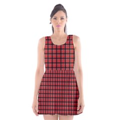 Red Plaid Scoop Neck Skater Dress by PhotoNOLA