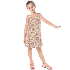 Retro Sketchy Floral Patterns Kids  Sleeveless Dress by TastefulDesigns