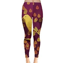 Bird Design Wall Golden Color Leggings  by Simbadda