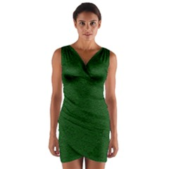 Texture Green Rush Easter Wrap Front Bodycon Dress by Simbadda