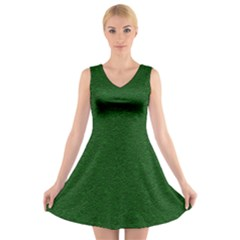 Texture Green Rush Easter V Neck Sleeveless Skater Dress by Simbadda