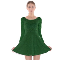 Texture Green Rush Easter Long Sleeve Velvet Skater Dress by Simbadda