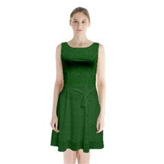 Texture Green Rush Easter Sleeveless Chiffon Waist Tie Dress by Simbadda