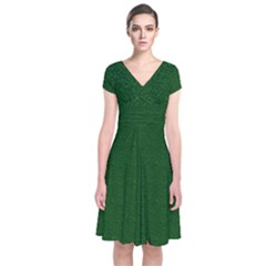 Texture Green Rush Easter Short Sleeve Front Wrap Dress by Simbadda