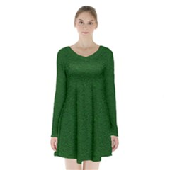Texture Green Rush Easter Long Sleeve Velvet V Neck Dress by Simbadda