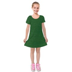 Texture Green Rush Easter Kids  Short Sleeve Velvet Dress by Simbadda