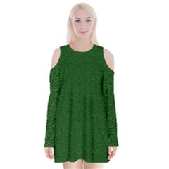 Texture Green Rush Easter Velvet Long Sleeve Shoulder Cutout Dress by Simbadda