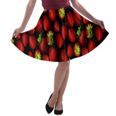 Berry Strawberry Many A Line Skater Skirt by Simbadda