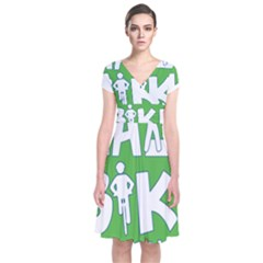 Bicycle Walk Bike School Sign Green Blue Short Sleeve Front Wrap Dress by Alisyart