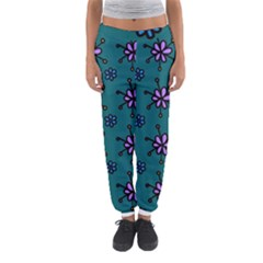 Blue Purple Floral Flower Sunflower Frame Women s Jogger Sweatpants by Alisyart