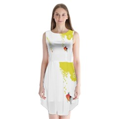 Fish Underwater Yellow White Sleeveless Chiffon Dress   by Simbadda