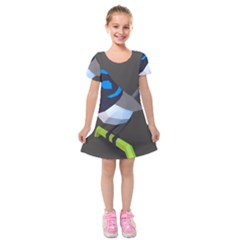 Animals Bird Green Ngray Black White Blue Kids  Short Sleeve Velvet Dress by Alisyart