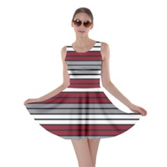 Fabric Line Red Grey White Wave Skater Dress
