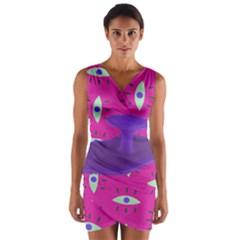 Eye Purple Pink Wrap Front Bodycon Dress by Alisyart