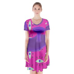 Eye Purple Pink Short Sleeve V Neck Flare Dress by Alisyart