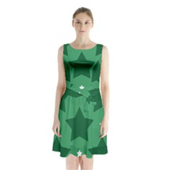 Green White Star Sleeveless Chiffon Waist Tie Dress by Alisyart