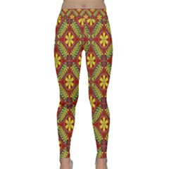 Abstract Yellow Red Frame Flower Floral Classic Yoga Leggings by Alisyart